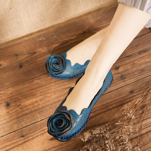 Image 5 - DONGNANFENG Women Mother Female Ladies Shoes Flats Loafers Cow Genuine Leather Round Slip On Pigskin Floral Flower 35 42 XR 1
