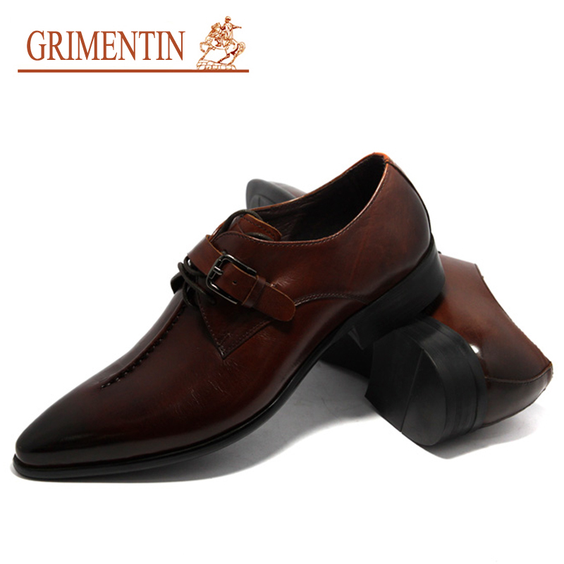... GRIMENTIN Fashion genuine leather men shoes dress black brown wedding  casual male shoes 2017 ... b1501e5d31e8