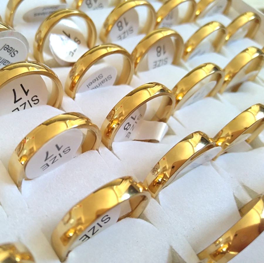 Bulk Lots 150PCS Gold 4mm Couple Trendy Stainless Steel Band Rings Fashion Lover s Wedding Jewelry