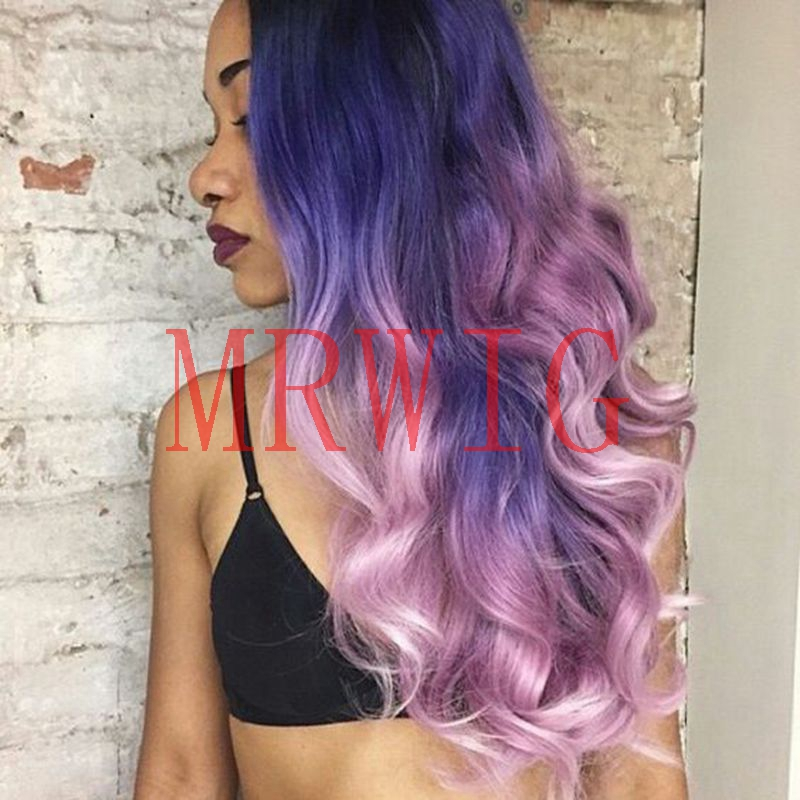 MRWIG free part ombre wavy hair front lace wig baby hair purple/pink combs&straps heat resistant fiber 26in 150% 350g