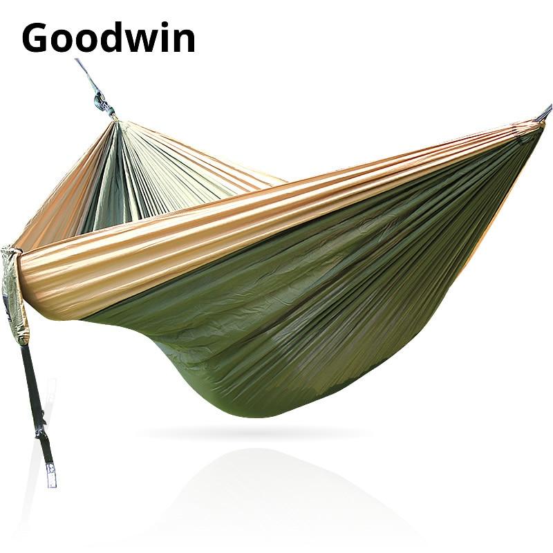 Hammock 300*200cm 210T Nylon Outdoor Furniture 2 People Portable Parachute Hammock Camping Survival Garden Flyknit Hunting Hamac