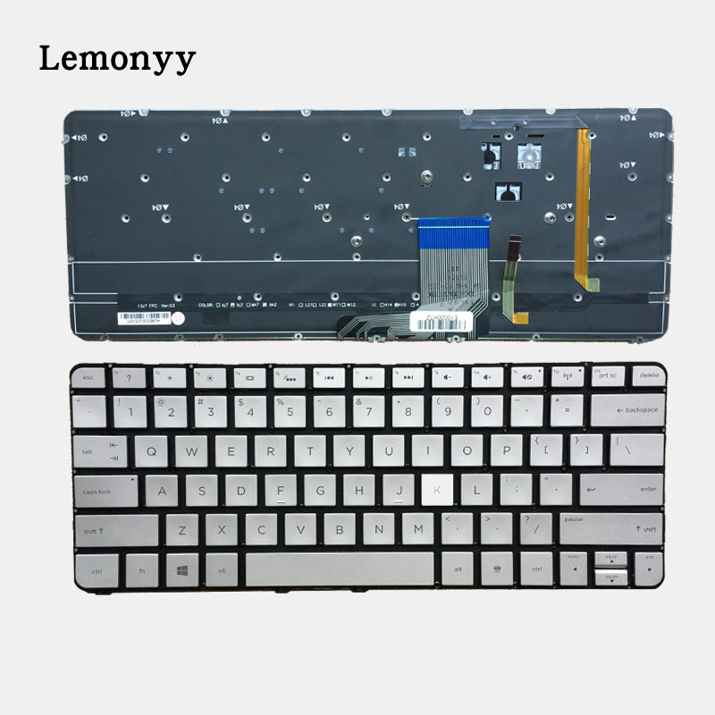 US Laptop keyboard for HP Spectre 13-3000 13-3000ea 13-3000ed 13-3000ee 13-3000er 743897-001 English Silver With Backlit