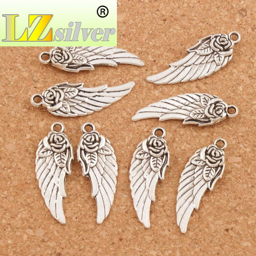 Angel Wing w Rose Spacer Charm Beads 34pcs Antique Silver Pendants Handmade Jewelry DIY L1625
