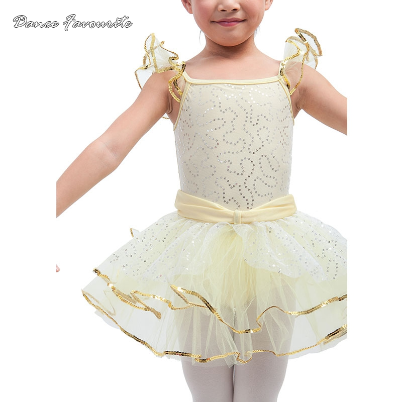 silver sequin mesh over yellow spandex bodice ballet tutu kid dance costume ballerina girl dance costume tutu