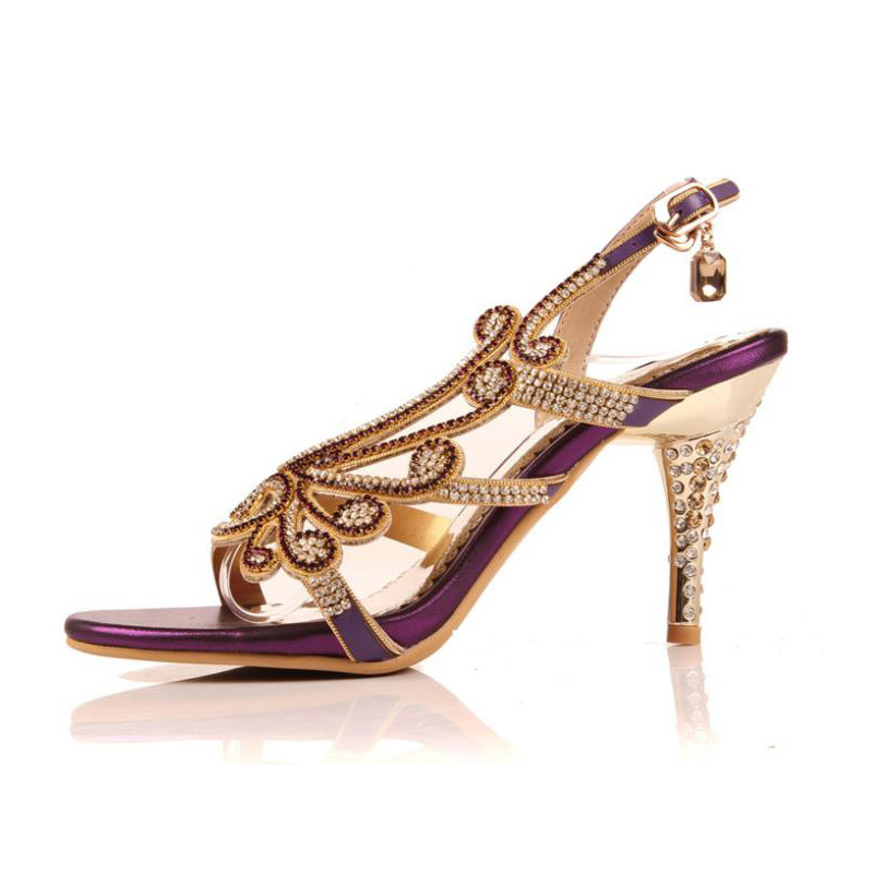 Luxury Sexy High heeled Shoes Big Size 40 41 42 Open Toe Buckle Strap  Rhinestone Sandals Heels Princess Shoes Bridesmaid Shoes-in Women s Sandals  from Shoes ... 8123d9809a85