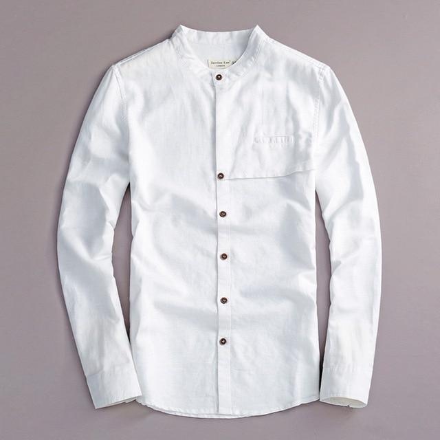 c893114d097 Италия Весна льняная рубашка мужская белая повседневная мужская рубашка  хлопок с длинными рукавами модные мужские рубашки
