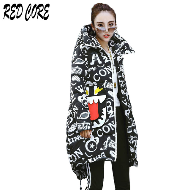 Flash Promo REDCORE New Ladies Coats Plus Size Women Parka Print Outerwear Womens Winter Jacket Women Hooded Coat Long Thick Warm Coat MA032