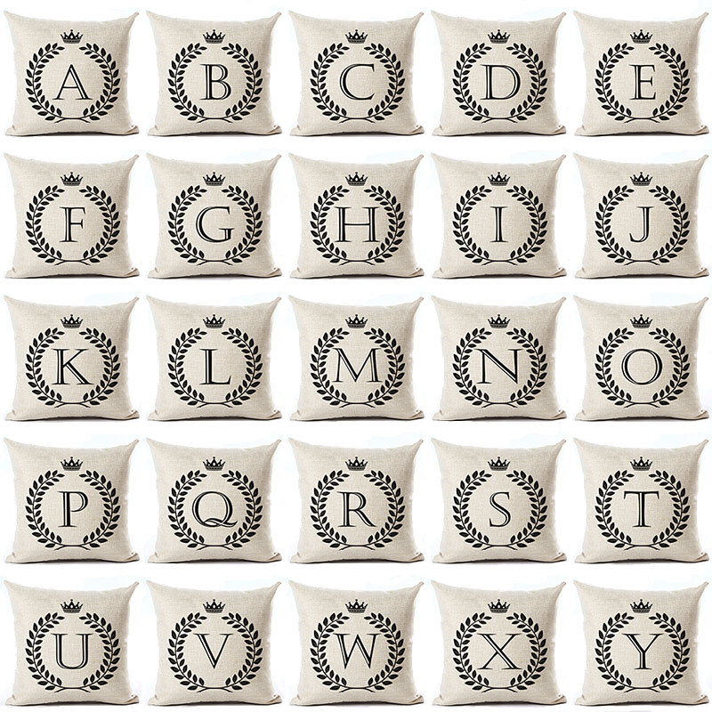 Letter Alphabet Printed Cotton Linen Pillowcase Decorative Pillows Cushion Use For Home Sofa Car Office Almofadas Cojines