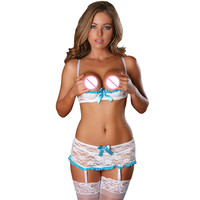 2016 Lenceria Erotica Lace Open Cup Bra And Garter Skirt Set White Birdal Lingerie Sexy Open