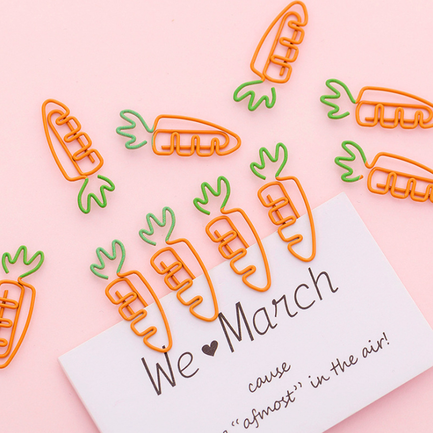 50pcs/lot New Carrot Shape Metal Clips Bookmark Paper Clips for Book Kawaii Stationery School Office Supplies Wholesale