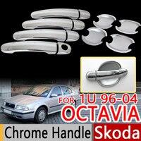 For Skoda Octavia Mk1 1U 1U2 1996 2004 Chrome Door Handles Covers Trim Set Of 4pcs