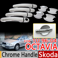 For Skoda Octavia Mk1 1U 1U2 1996 2004 Chrome Door Handles Covers Trim Set Of 4pcs