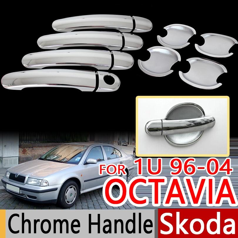 For Skoda Octavia Mk1 1U 1U2 1996-2004 Chrome Door Handles <font><b>Covers</b></font> Trim Set of 4pcs Car Accessories Stickers Car Styling 2000