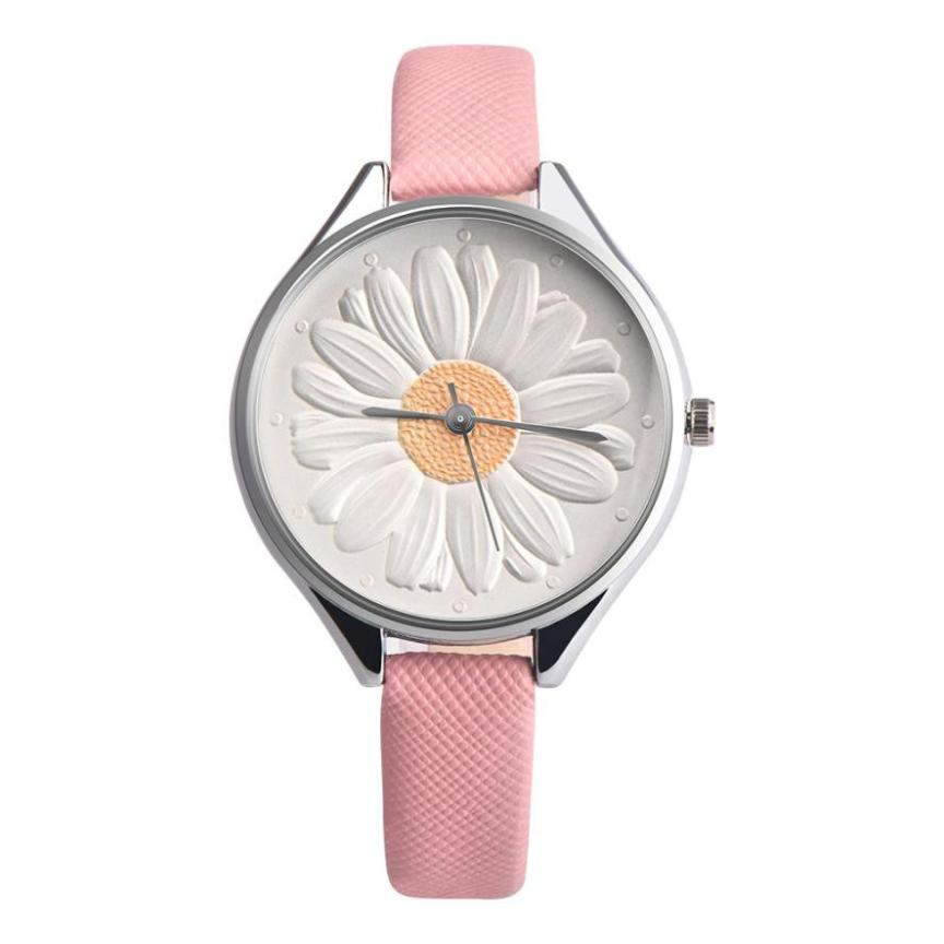 купить Women Sunflower Retro Design Leather Band Analog Alloy Quartz Wrist Watch woman watches 2018 brand luxury Relogio Feminino по цене 110.16 рублей
