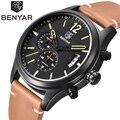 Benyar resistente al agua 30 m deportes de la moda de cuero genuino relojes de lujo marca analog fecha hombres reloj de cuarzo reloj relogio masculino