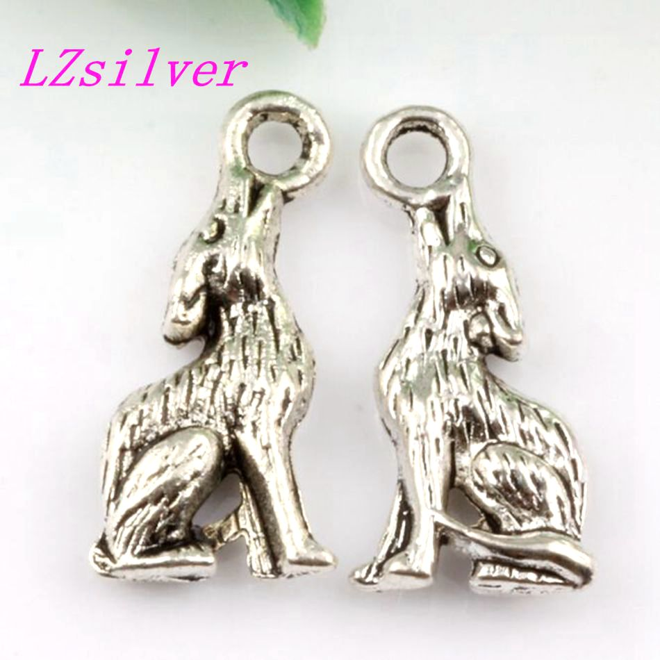 Wholesale 100pcs Tibetan silver Zinc Alloy coyote wolf Charms Pendants 21x8mm FL01015