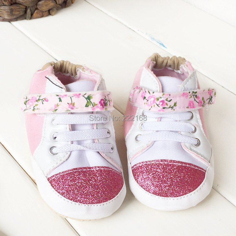 2018 Spring Autumn Floral Lining Baby Girls First Walkers Infant Toddler Shoes Pink Fashion Sneakers