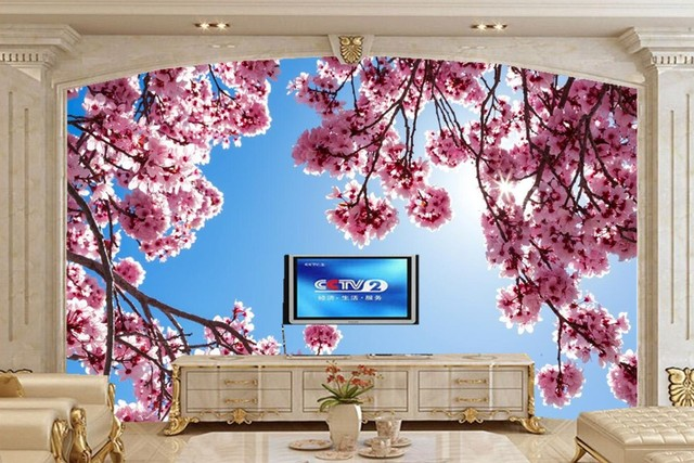 Custom Murals,Flowering Trees Branches Pink Color Flowers Wallpapers,living  Room Tv Sofa Wall