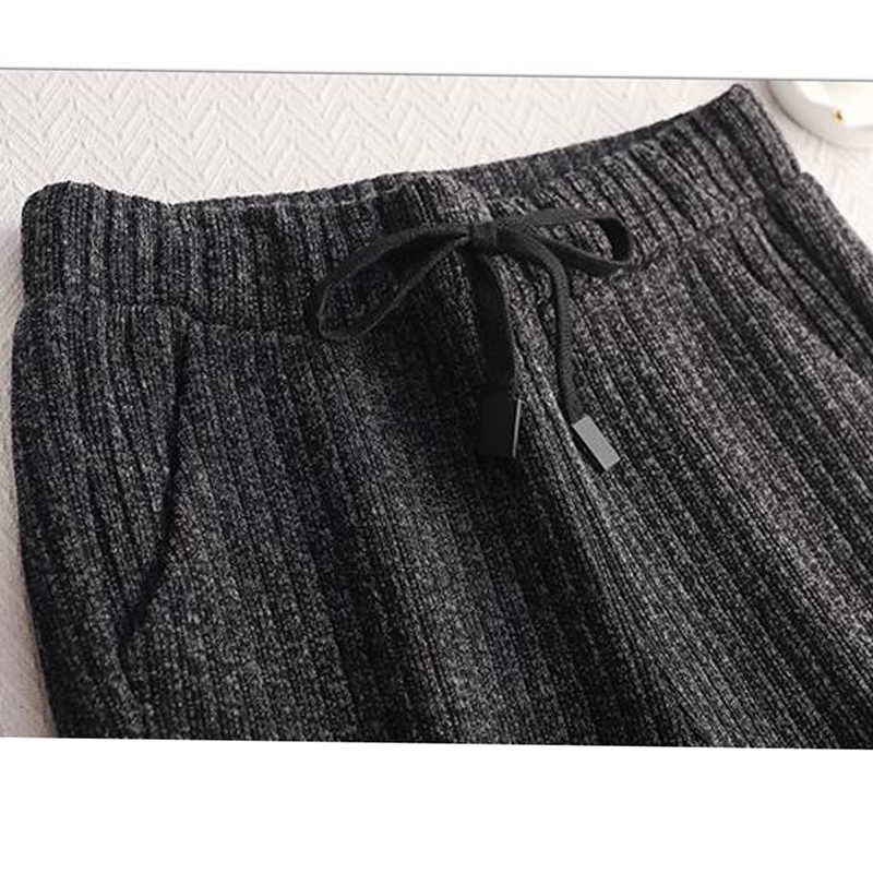 厚みのニットパンツ女性女性の冬 2018 ハイウエストワイド脚ズボンの女性のウールパンツニットプラスサイズ