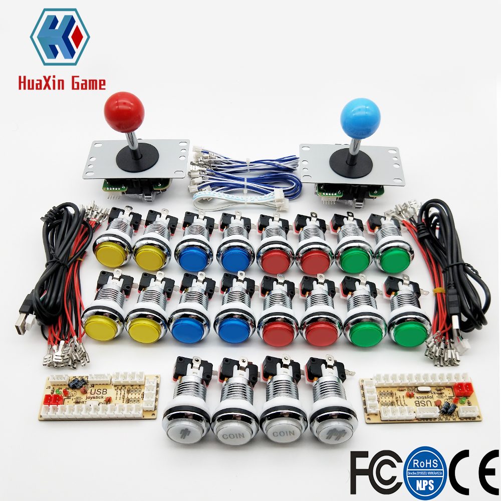 Zero Delay Arcade cabinet DIY kit for 5V LED chrome push button SANWA Joystick 1 & 2 player COIN button USB to PC / Raspberry PiCoin Operated Games   -