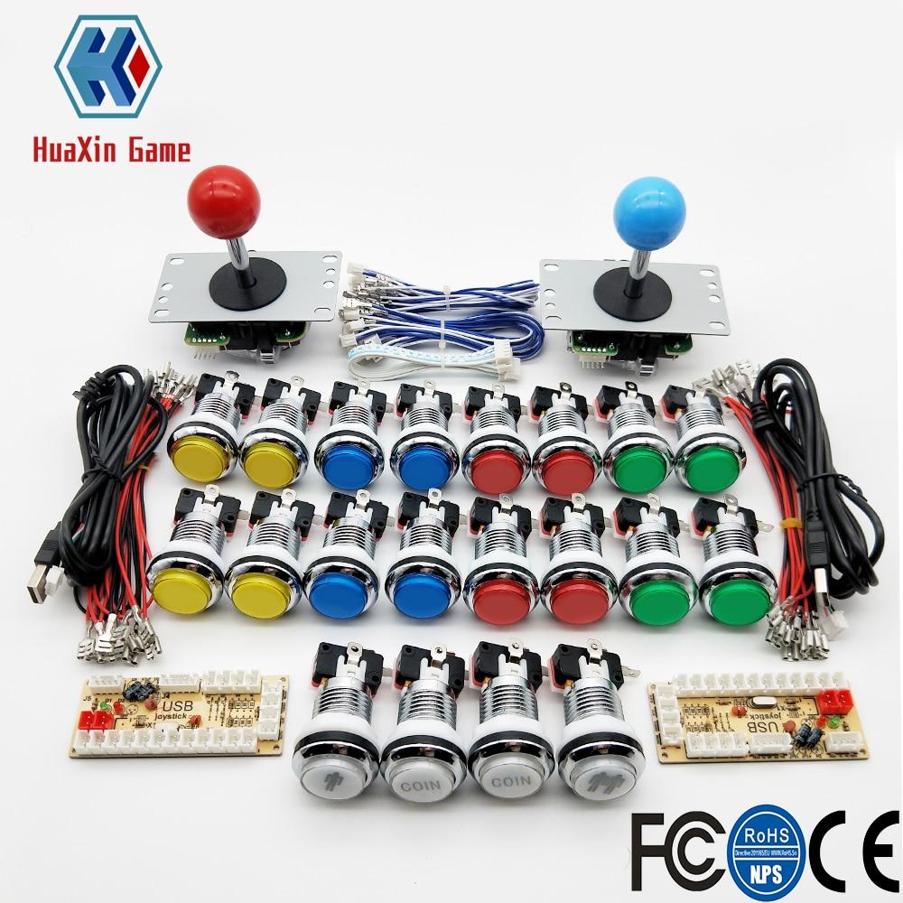 Zero Delay Arcade Cabinet DIY Kit For 5V LED Chrome Push Button SANWA Joystick 1 & 2 Player COIN Button USB To PC / Raspberry Pi
