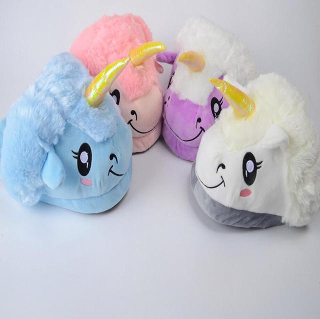 a4191ebeee504 US $9.89  New Winter Plush Unicorn Slippers Cute Funny Couple Slipper Men  Women Home&House Shoes Warm Cotton Pantufas Zapatillas Unicornio-in  Slippers ...