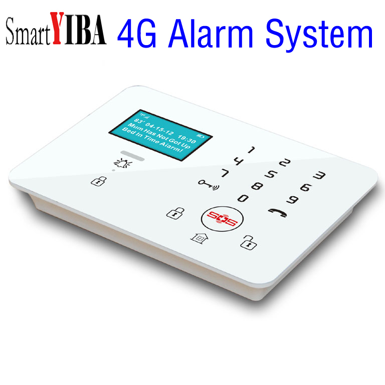 SmartYIBA 4G SIM SMS GPRS APP Control Wireless Smart Home Security Alarm System DIY Kit with Auto Dial Fire Smoke Senor Alarm