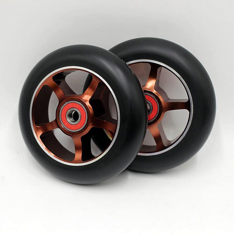Prix pour 2 roues! livraison envoyer! Produits chauds! Stunt scooter roues/polyuréthane en aluminium roues