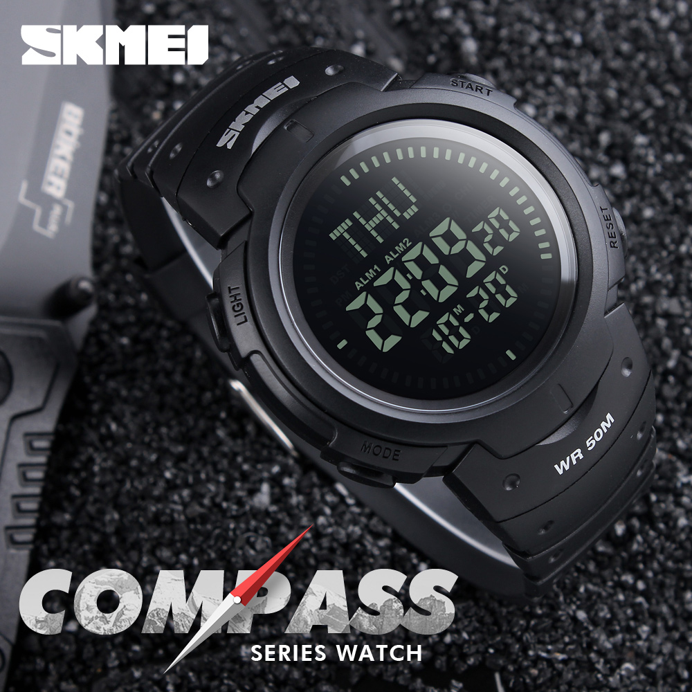 купить SKMEI Men Sports Watches Compass Chronograph Hiking LED Digital Electronic Outdoor Wristwatches Relogio Masculino Man Clock 1231 недорого