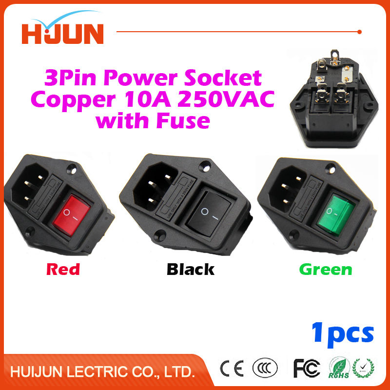 1Pcs High Quality 3 Pin Safe Male Power Socket Copper with Fuse Switch Inlet Connector Plug 10A 250VAC Computer Red Black Green