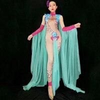 Modern Female Singer Nightclub Bodysuit Dj Rhinestone Hand Sleeve Cloak Jumpsuit Stage Outfit Party Celebrate Costume DJ270