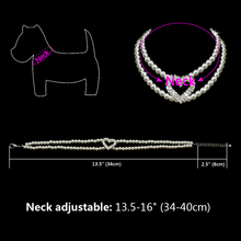Pearl Dog Necklace Collar With Rhinestone Heart Detail