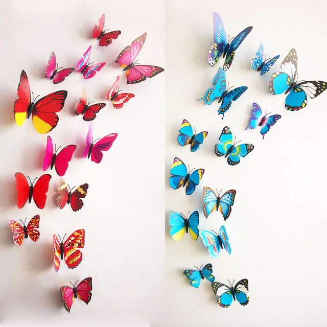 High Quality Free Shipping 12pcs PVC 3d Butterfly Wall Decor Cute Butterflies Wall  Stickers Art Decals Home Decoration