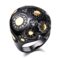 Nice Punk Rings For Women Black&Gold Plated Lead Free Cubic Zircoina Free Allergy Black rings