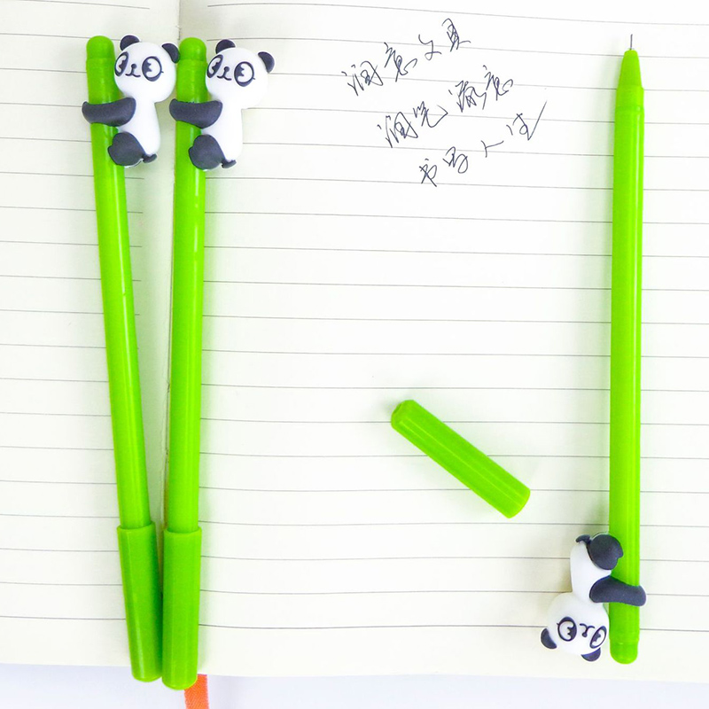 Collection Here Panda Gel Pen 0.38mm Cute Bamboo Style Creative Pens For Kids Girls Gifts Kawaii Stationery Novelty Item School Writing Supplies