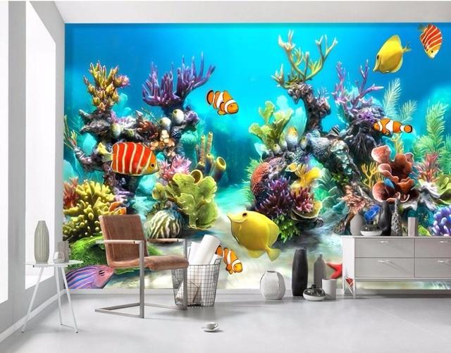 Benutzerdefinierten Wandbild Foto D Tapete Unterwasserwelt Fisch Und Kinder Dekoration Malerei D Wandbilder Wallpaper Fur Wande