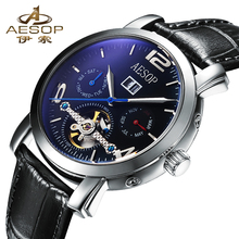 AESOP Mechanical Watch Men Fashion Complete Calendar Waterproof Top Brand Available Strap Luxury Tourbillon Wristwatch Relogio