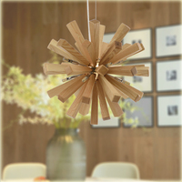 Chinese Style Nordic Solid Wood Art Restaurant Chandelier Livingroom Bedroom Cafe Bar LED Explosion Ball Lamp Free Shipping