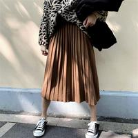 2018 Autumn Midi Knitted Pleated Skirts Femme Solid Thick Knitting High Waisted Casual Skirt Mid Calf