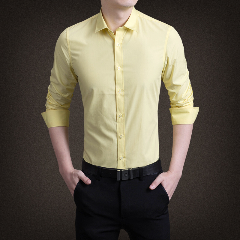 2019 New Smart Casual Turn-down Collar Solid Full Men Shirt White Green Yellow Pink Purple Mens Shirts Men Shirt Long Sleeve