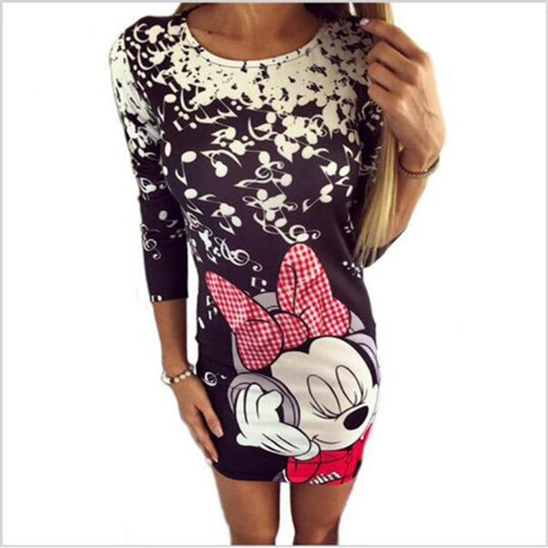 5XL Plus Size Women Floral Print Dress Summer 2019 Sexy Slim Bodycon Package Hip Party Dresses Female Cartoon Cute Dress Vestido in Dresses from Women 39 s Clothing