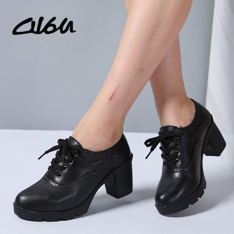 Casual Wedge Heel Shoes Brown Oxford