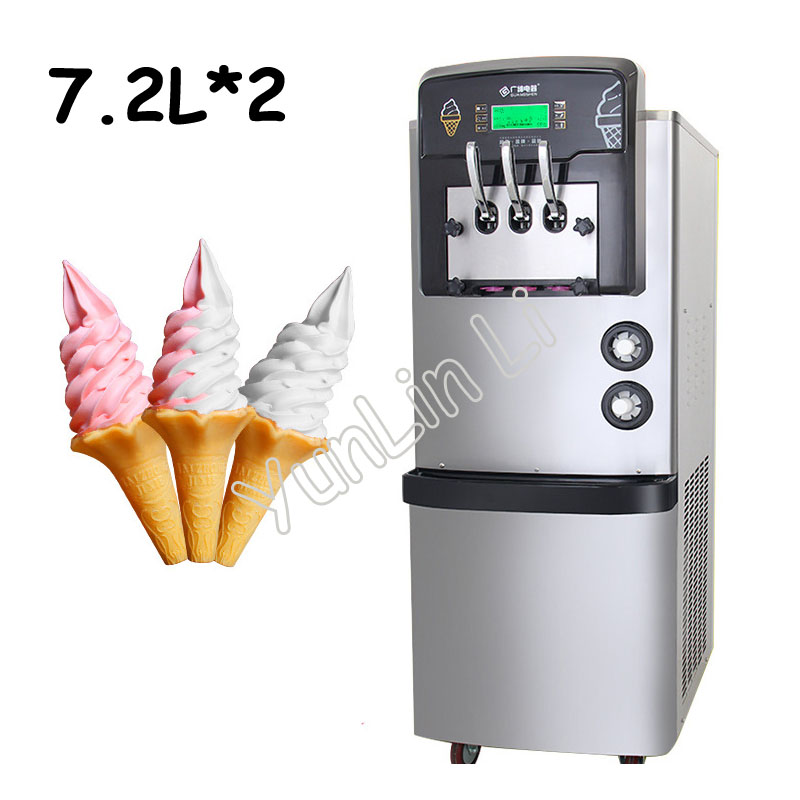 7.2L*2 Ice Cream Machine Commercial Full Auto Soft Ice Cream Maker Fresh Keeping System And Precooling Function BX3368CER D2