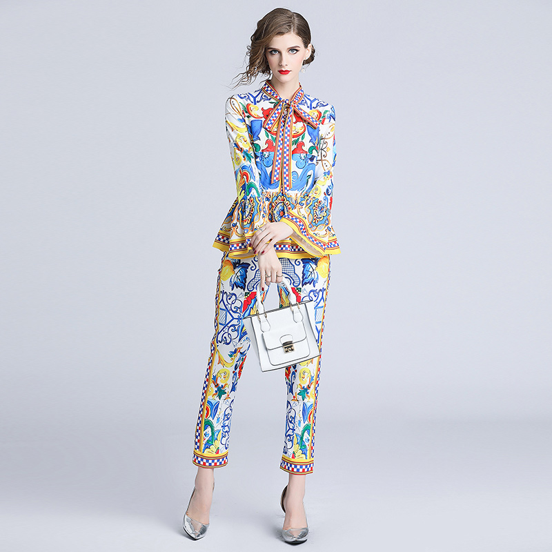 Painted Print Runway Pants Suit Sets 2019 Women's Flare Sleeve Bow Collar Ruffles Pullover Top+Pencil Pants Two Pieces