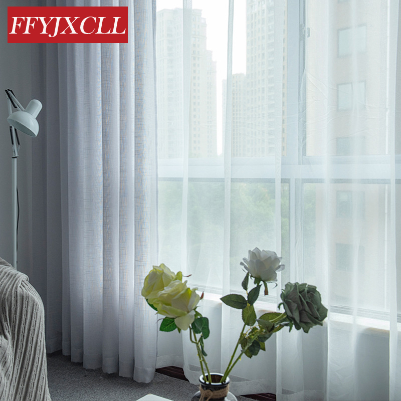 Solid Color Modern Linen Tulle For Living Room Bedroom Kitchen Cafe Drapes Home Decor Window Screening Sheer Curtains