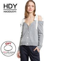 HDY Haoduoyi Women Cardigans Long Sleeve Button Sweaters Strap Bow Off The Shoulder Sexy Tops Loose