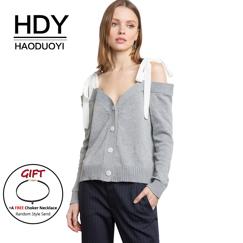 HDY Haoduoyi Women Cardigans Long Sleeve Button Sweaters Strap Bow Off the shoulder Sexy Knitted Tops Gray Casual Autumn Winter