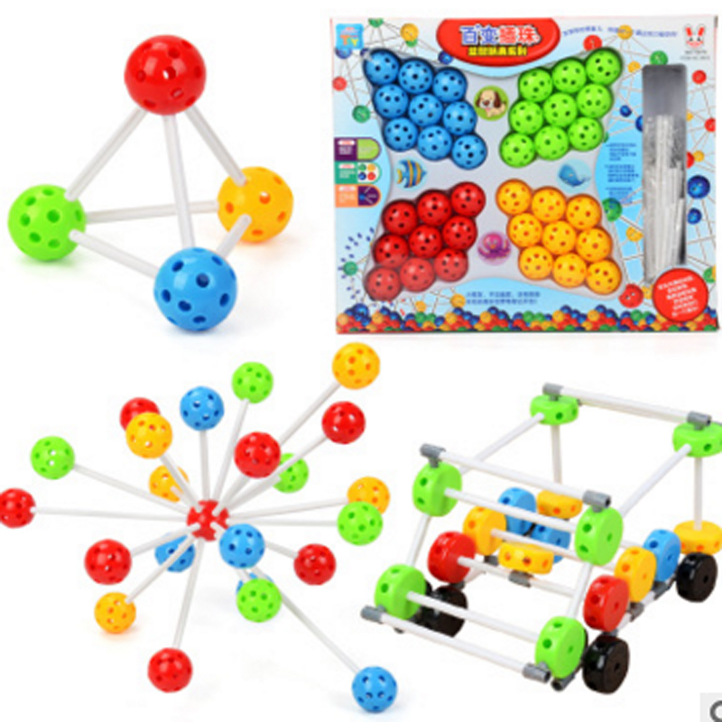 1 set Kinderen Kleurrijke Plastic Kralen Match Bouwstenen Baby - Leren en onderwijs