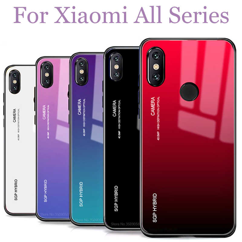 Case On For xiaomi note5plus Glass Gradient Cover Bumper Fundas ksiomi a2 lite pro mi8 se mix2 Soft Edge TPU Coque 5a 4x