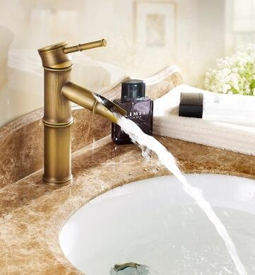 Antique brass wash basin faucet hot and cold, 2 section of bamboo single hole water tap vintage,Bathroom sink basin faucet mixer 7 types antique brass sink basin faucet retro bathroom single hole basin faucet vintage gold plated cold and hot water tap mixer